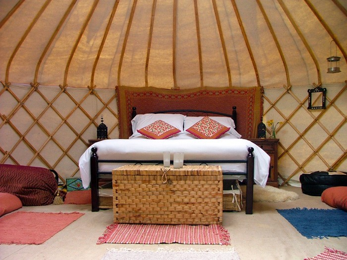 1. yurt by the stream - showing double bed
