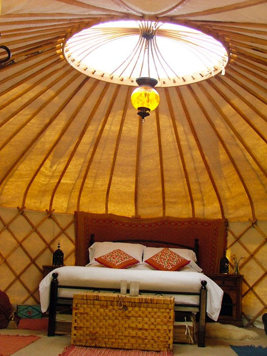 2. yurt by the stream - showing clear roof crown